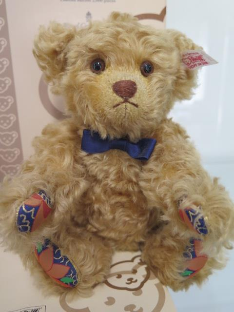 A Steiff Royal Crown Derby bear, mohair, 24cm tall, Limited Edition number 656 of 2000, boxed with - Image 2 of 3