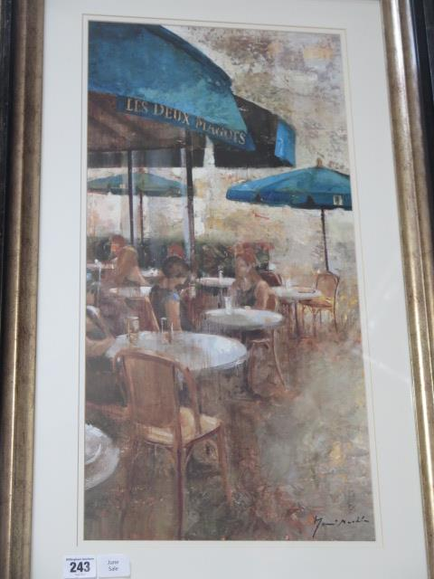 A pair of continental cafe scene prints, frame size 80cm x 49cm, both good condition - Image 2 of 3