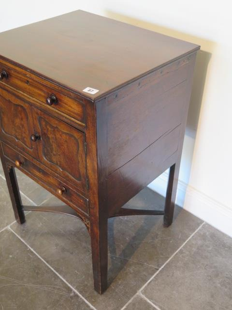 A Georgian and later mahogany wash stand with two drawers and two cupboard doors, 79cm tall x 52cm x - Image 4 of 4