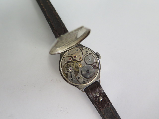 A silver case 1930s ladies wristwatch, has a CYMA 15 jewel lever movement with an enamelled dial, - Image 4 of 4
