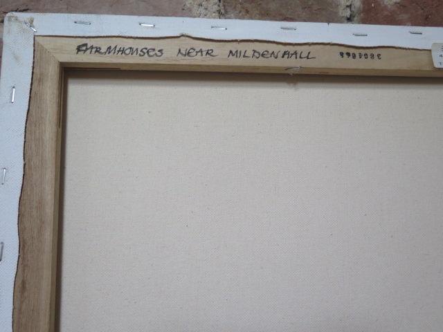 John Rohda oil on canvas, A Farmhouse near Mildenhall, unframed 36cm x 46cm - Image 2 of 2
