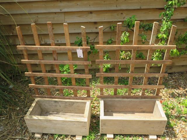 A pair of new rustic wood trellis planters, 107cm tall x 67cm x 31cm