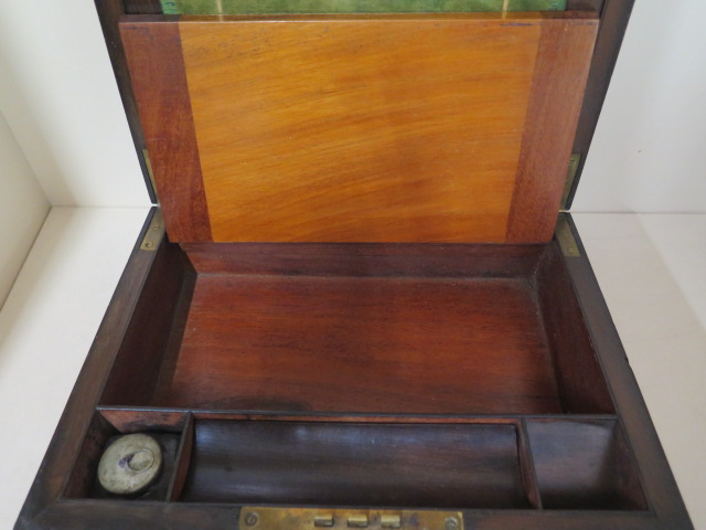 A Victorian walnut writing slope, 30cm wide, reasonably good some wear, no key - Image 4 of 7