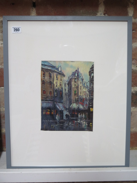 An oil of a Paris street scene indistinctly signed, frame size 53cm x 43cm