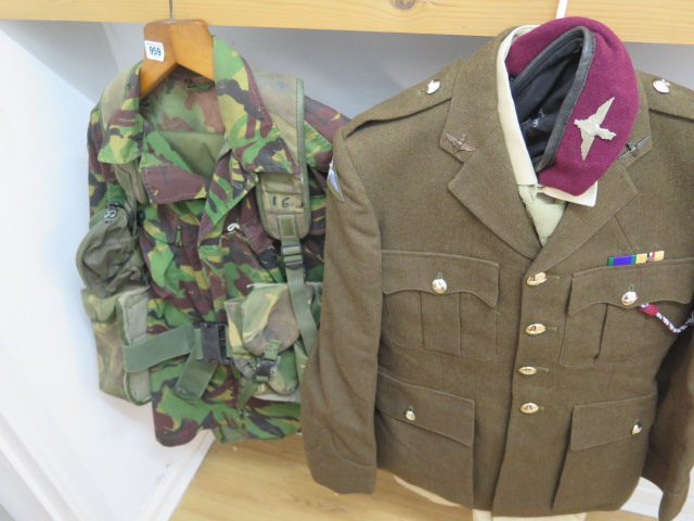A Parachute Regiment officers uniform including combat gear 1980-1999 and modern Para beret