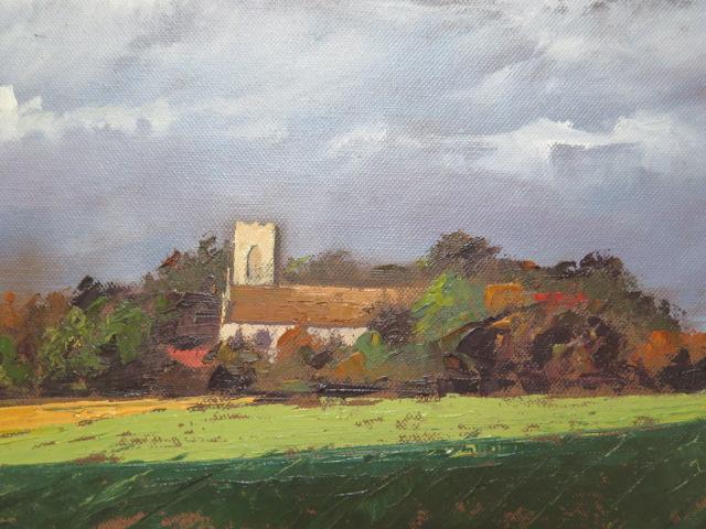 John Rohda, oil on canvas, Norfolk church near Walsingham, unframed 51cm x 61cm - Image 2 of 3