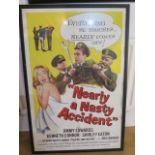 A 1962 Universal Pictures Co film poster for the comedy Nearly a Nasty Accident, frame size 108cm