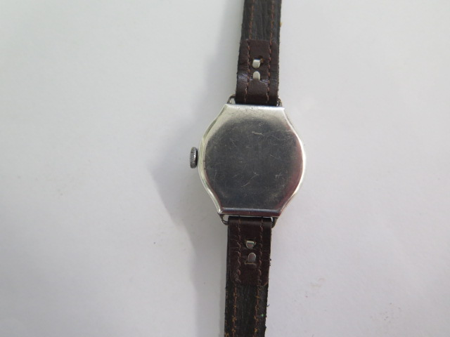 A silver case 1930s ladies wristwatch, has a CYMA 15 jewel lever movement with an enamelled dial, - Image 3 of 4