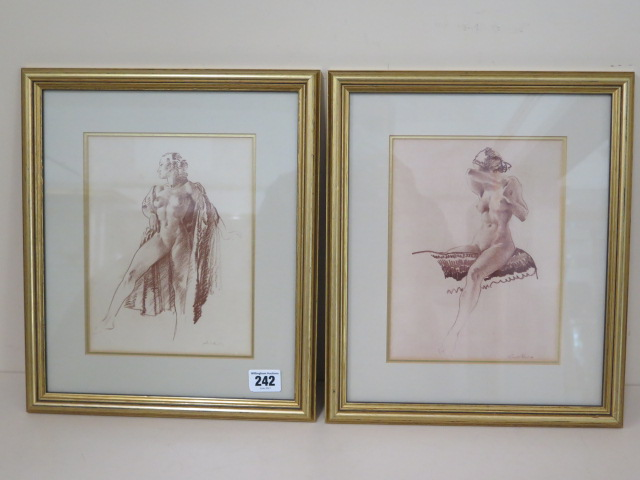 Two gilt framed William Russell Flint prints Simone and Isabelita, frame size 34cm x 29cm, both good