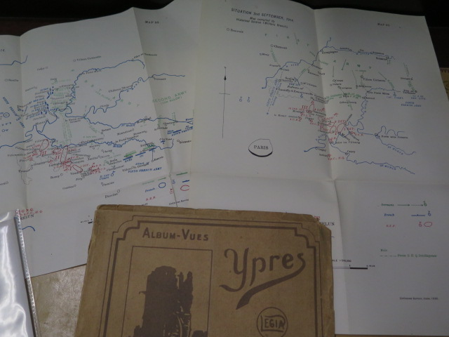 An interesting collection of five WWI trench maps, a reproduction map, an album of postcards Ypres - Image 4 of 8