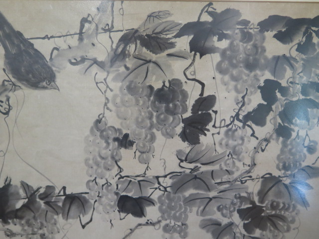 An 18th century Chinese ink on paper painting of birds amongst vines with a poem inscription, two - Image 3 of 4