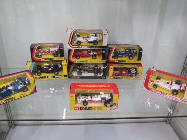 10 Corgi diecast model Formula 1 racing cars, Yardley McLaren M19AF1, Ferrari 312 B2, TS 9B Team