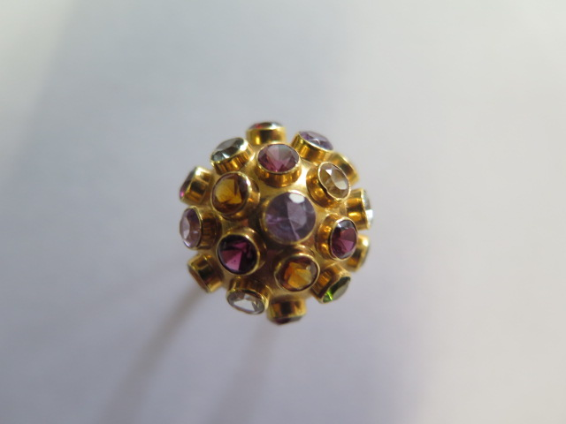 H Stern 18ct yellow gold multi gem Sputnik ring set, the dome bezel set with 19 round cut