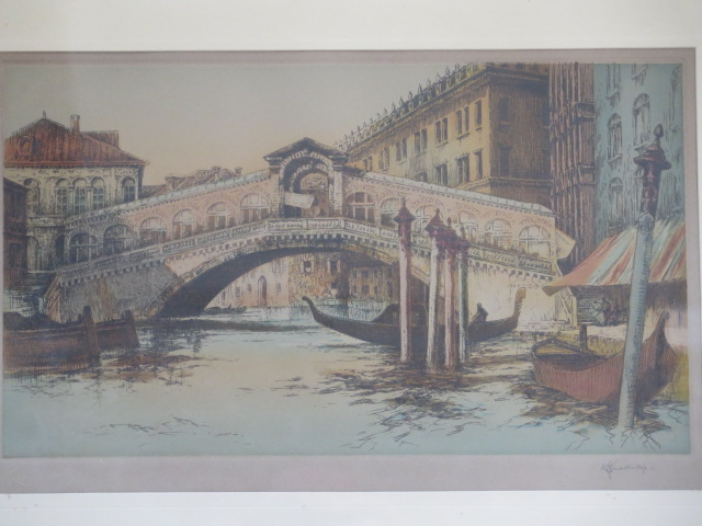 Two Academy proof coloured etchings of Venice by RH Smallridge with Academy of Art Ltd Birmingham - Image 2 of 4