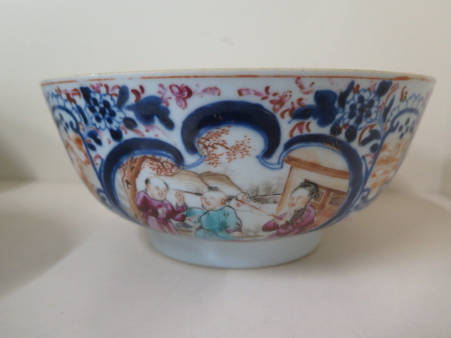 A 19th century famille rose bowl, diameter 23cm x 10cm tall, multiple repairs and chips but - Image 3 of 5