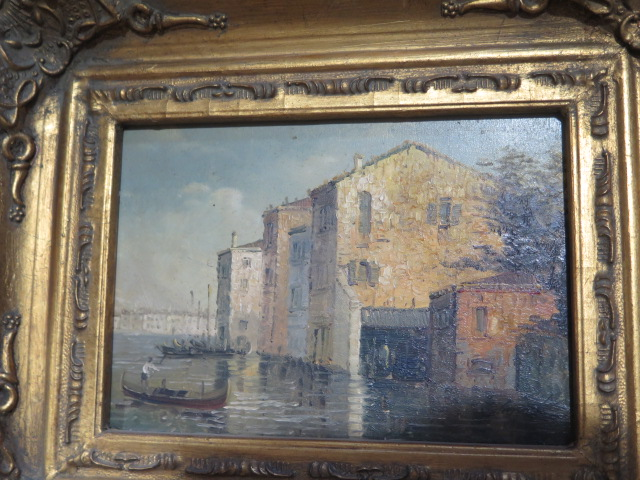 A pair of oil paintings of Venice or Murano, signed S Smith, in gilt frames, frame size 25cm x 29cm - Image 3 of 4