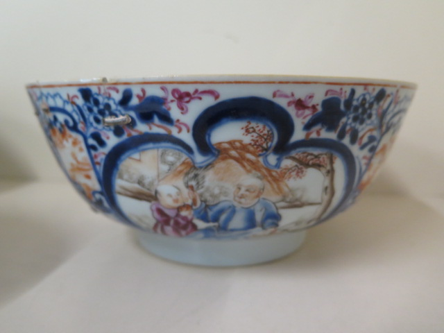 A 19th century famille rose bowl, diameter 23cm x 10cm tall, multiple repairs and chips but - Image 2 of 5