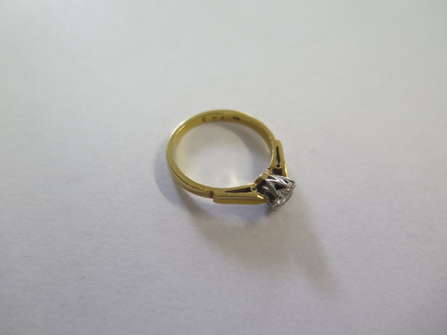 An 18ct diamond illusion set solitaire ring, size M, approx 3 grams, in good condition, marked 18ct - Image 2 of 3