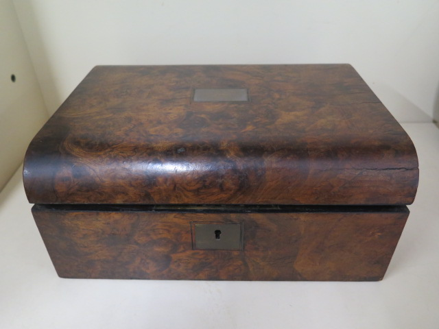 A Victorian walnut writing slope, 30cm wide, reasonably good some wear, no key