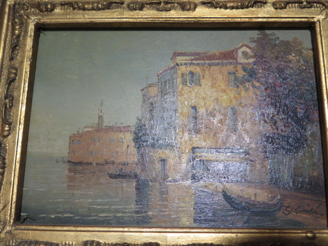 A pair of oil paintings of Venice or Murano, signed S Smith, in gilt frames, frame size 25cm x 29cm - Image 2 of 4
