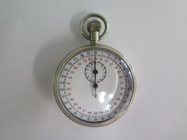 A military 1/10 SEC WWII Lemania movement stop watch, approx 50mm diameter, crack to dial, working