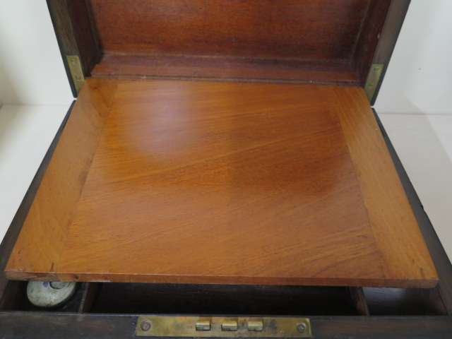 A Victorian walnut writing slope, 30cm wide, reasonably good some wear, no key - Image 3 of 7