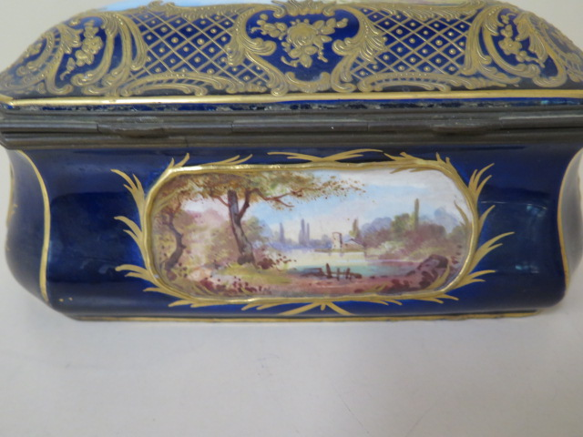 A continental hand decorated shaped porcelain trinket casket with serves style mark, 11cm tall x - Image 4 of 9