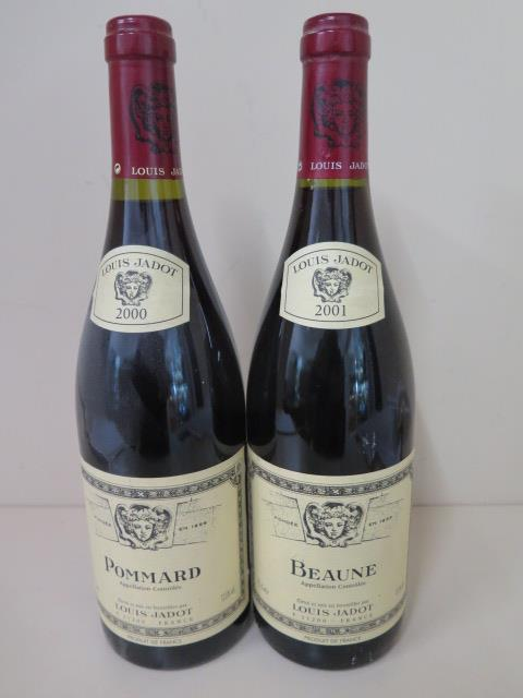 Louis Jadot 2000 75cl bottle of Pommard and a 2001 75cl bottle of Beaune red wine, both sealed
