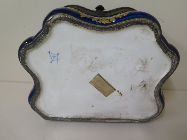 A continental hand decorated shaped porcelain trinket casket with serves style mark, 11cm tall x - Image 9 of 9