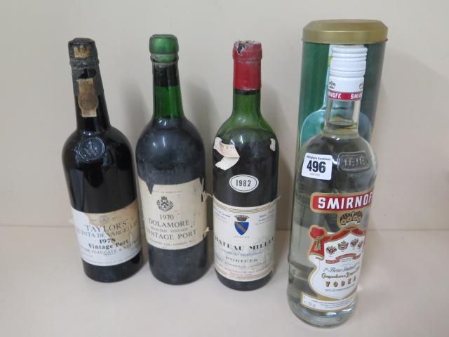 A 75cl bottle of Taylors Quinta De Vargellas 1978 vintage port, a bottle of 1970 Dolamore vintage
