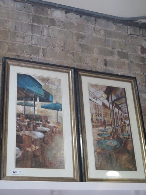 A pair of continental cafe scene prints, frame size 80cm x 49cm, both good condition