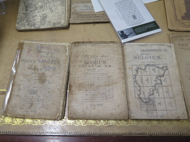 An interesting collection of five WWI trench maps, a reproduction map, an album of postcards Ypres - Image 3 of 8