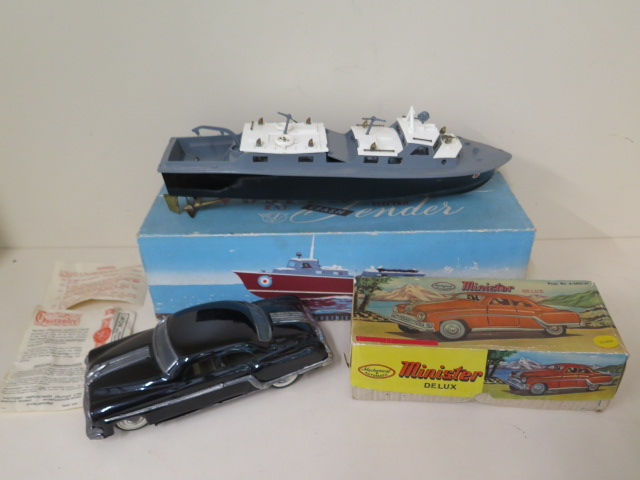 A boxed Vasper RAF crash tender and a boxed Minister friction drive tinplate car, both reasonably