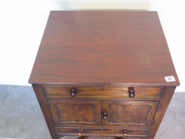 A Georgian and later mahogany wash stand with two drawers and two cupboard doors, 79cm tall x 52cm x - Image 2 of 4