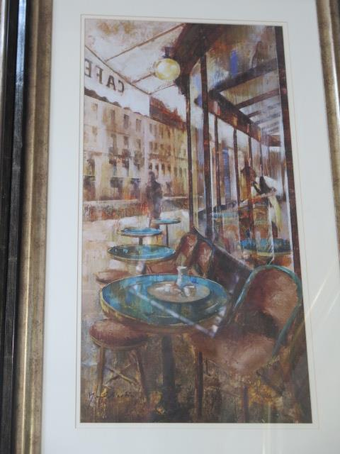 A pair of continental cafe scene prints, frame size 80cm x 49cm, both good condition - Image 3 of 3