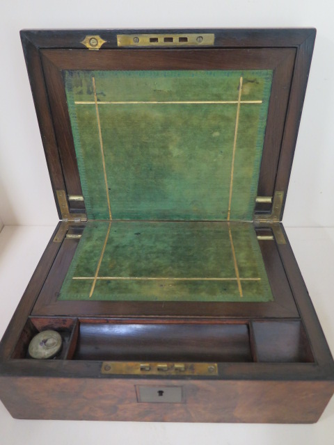 A Victorian walnut writing slope, 30cm wide, reasonably good some wear, no key - Image 2 of 7
