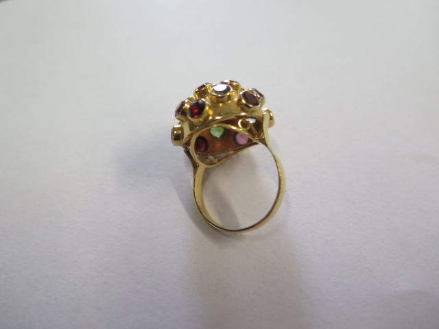 H Stern 18ct yellow gold multi gem Sputnik ring set, the dome bezel set with 19 round cut - Image 4 of 5