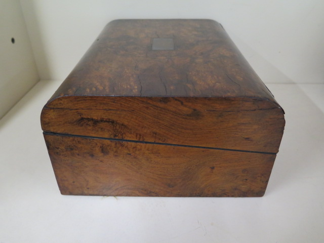 A Victorian walnut writing slope, 30cm wide, reasonably good some wear, no key - Image 7 of 7