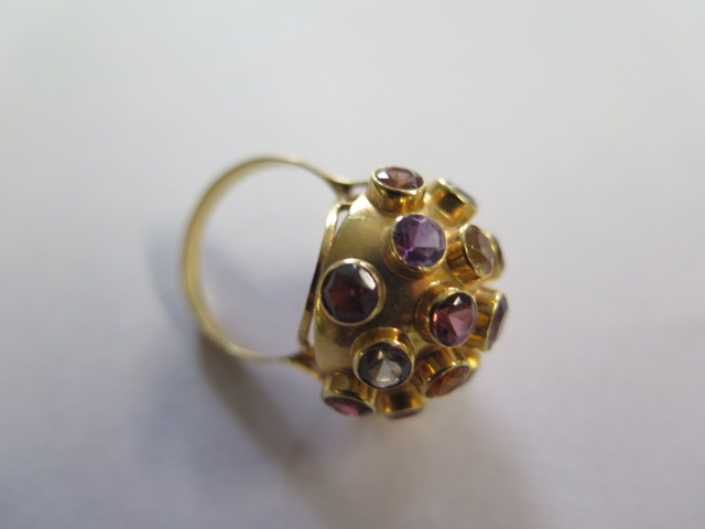 H Stern 18ct yellow gold multi gem Sputnik ring set, the dome bezel set with 19 round cut - Image 2 of 5