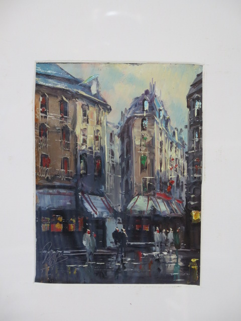 An oil of a Paris street scene indistinctly signed, frame size 53cm x 43cm - Image 2 of 2
