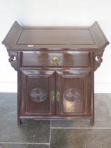 An Oriental hardwood side cabinet, 79cm tall x 65cm x 38cm