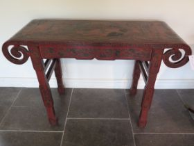 A Chinese 18th / 19th century lacquer altar table decorated with panels depicting scholars and