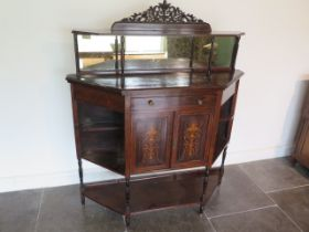A 19th century rosewood side cabinet with two inlaid doors, 122cm wide x 150cm tall x 38cm deep