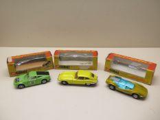 Three Corgi Whizzwheels cars Ford GT70, Adams bros Probe 16 and a 4.2lt Jaguar E type 2-2, cars good