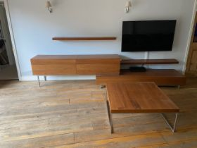 A Designer Teak effect four drawer TV stand sideboard with coffee table and two wall shelves . The s