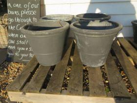 Four medium grey frost proof plant pots 40 cm diameter