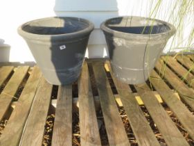 Two large grey frost proof plant pots 50 cm diameter