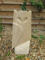 A stylised limestone owl sculpture, hand carved in Cambridgeshire, 53cm tall x 23cm wide
