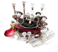 A mixed lot, comprising silver items: a pair of modern silver-mounted glass decanters, by James