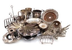 A mixed lot of electroplated item, comprising: a salver, of circular form, chased decoration, two